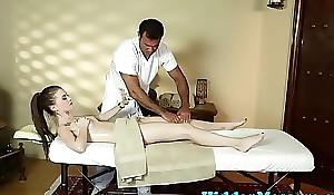 Lovely belle deep-throats the masseur