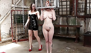 Busty redhead anal fucked to strap upstairs