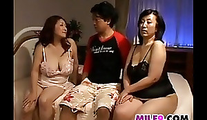 Two sexually sexually sexually concupiscent japanese mothers in a 3some