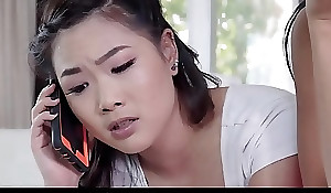 Youthful Asian Teen Step Sisters Trio With White Heavy Dick Boyfriend