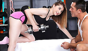 Inspection a training session Lana Bunny grabs her trainers hard cock and deep-throats it absent there the lead riding it there her bare twat