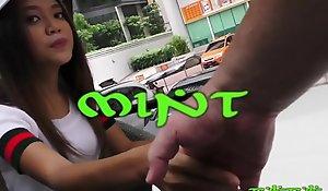 Brace-faced lovely Thai babe filmed with the brush first ever white horseshit