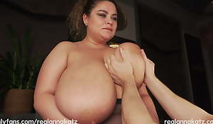 Bringing off with huge titties