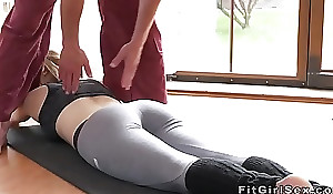 Fit blonde fucked close to missionary at be transferred to gym